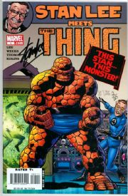 Stan Lee Meets The Thing Dynamic Forces Signed Stan Lee DF COA #2 Ltd 25 Marvel comic book